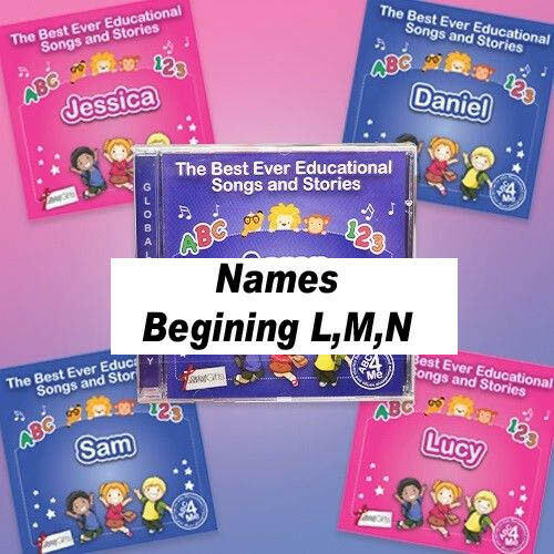 MUSIC CD PERSONALISED abc 4 me EDUCATIONAL SONGS /& STORIES WITH NAME L,M,N
