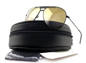 NEW EMPORIO ARMANI Matte Black Gold Mirror Metal Aviator Sunglasses EA 9807/S