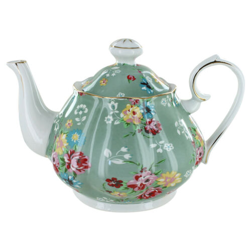 5 Cup Teapot Shabby Rose Green Porcelain