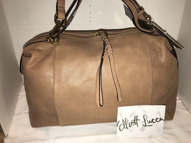 6fdeb3eeda1d Elliott Lucca Albertine Almond Leather Satchel Bag purse 107208