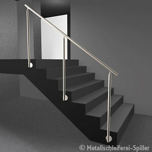 edelstahl gel nder treppe handlauf ohne f llung vorgesetzte montage 500 2600 mm ebay. Black Bedroom Furniture Sets. Home Design Ideas