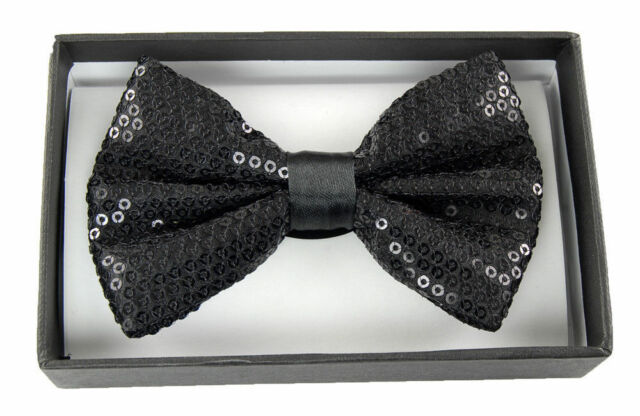 Unisex White Sequin Tuxedo Classic BowTie Neckwear Adjustable White Bow Tie
