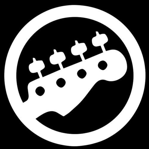 Sticker Musique Logo Guitare rond MUS011 Tailles et Coloris Divers