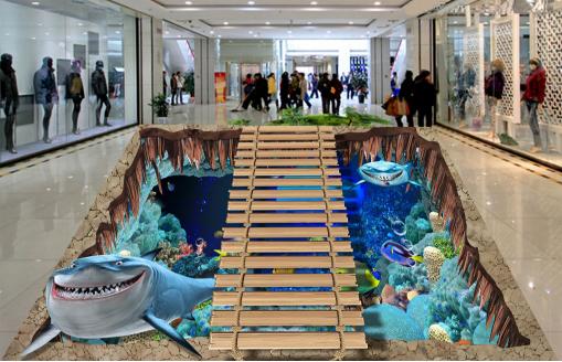 3D Shark Sea Bridge 78 Floor WallPaper Murals Wall Print Decal AJ WALLPAPER US