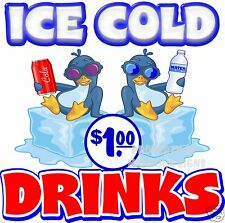 """Ice Cold Drinks $1 price Decal 14"""" Concession Restaurant Food Truck Sticker"""