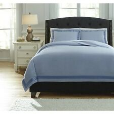 Ashley Furniture Q755023Q Farday Queen Duvet Cover Set in Soft Blue NEW