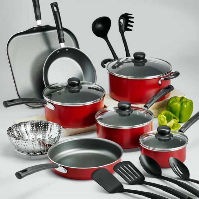 18 Piece Cookware Set Pots Pans Kitchen Non Stick Home Cooking Pot Pan Red For Sale Online Ebay