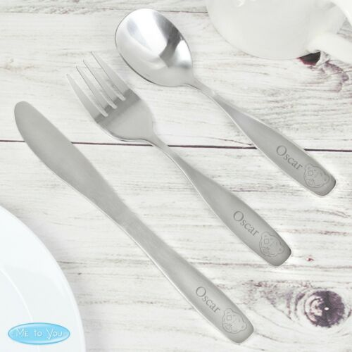 Personalised Tiny Tatty Teddy Cutlery Set Christening Birthday Christmas Gift