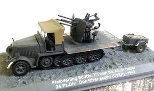 1-72-FLAKVIERLING-Sd-KFZ-TRAILER-DON-RIVER-USSR-WWII-WWII-IXO-ALTAYA-DIECAST