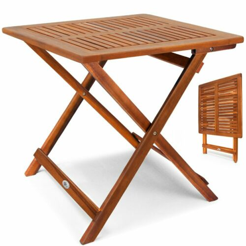 Tavolino Pieghevole in Legno di Acacia Oliato 70x70x73cm   da caffè Giardino