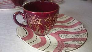 Washington Pottery patrón de la hoja de una sola taza de té & tenis platillo platein Borgoña  </span>