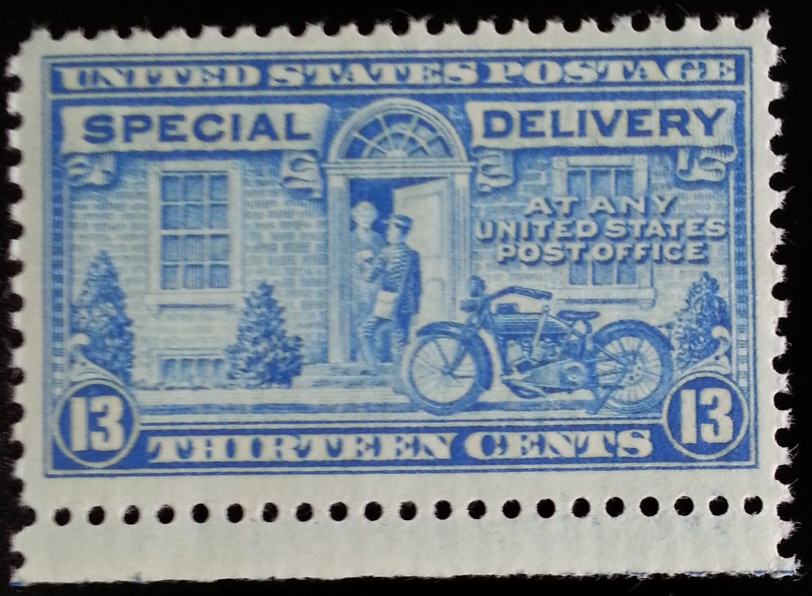 1944 13c Motorcycle, Special Delivery, Blue Scott E17 M