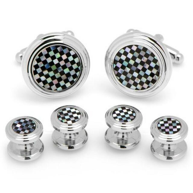 Silver Mother of Pearl and Onyx Checker Tuxedo Cufflinks Stud Set Ox & Bull