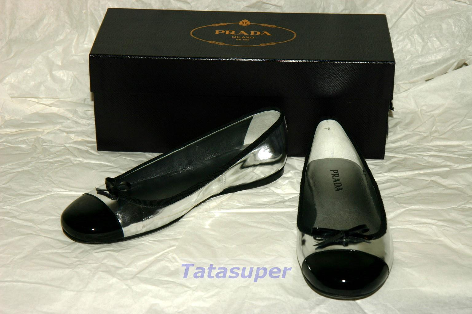Prada Flats shoes - Patent Silver and Black Size 37.5 100% Authentic BNIB