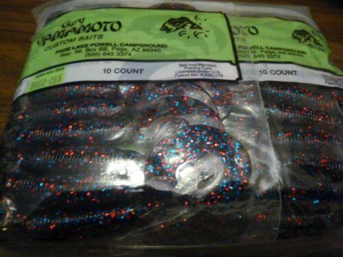 Hula Grub 9810-165 Smoke Red Blue Flake Gary Yamamoto Lot Of 12 Packs