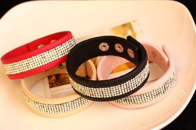 NEW Leather Wrap Wristband Cuff Punk Magnetic Rhinestone Weave Bracelet Bangle