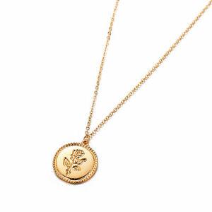 Retro-Oro-Rosa-Flor-Redonda-Moneda-Colgante-Collar-Largo-Cadena-para-Mujer-Joyas