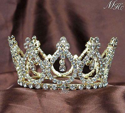 Pretty Small Tiaras Gold Brides Crowns Rhinestone Wedding Prom Quniceanera Party