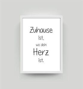 Spruch zuhause ist kunstdruck din a4 wohnzimmer deko for Kunstdruck wohnzimmer