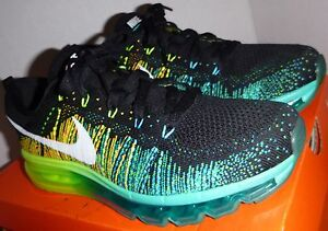 229ed512657 RARE 2014 Men s Nike Flyknit Max AirMax Turbo Green Blue Black White ...