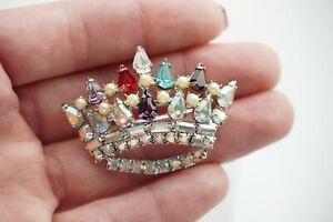 Quality-Vintage-ROYAL-CROWN-BROOCH-Pin-AB-Baguettes-Pear-Tear-Rhinestones-Pearls