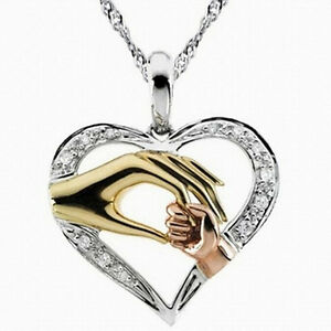 Mother-039-S-Day-Mom-Hold-Kids-Children-Hand-Love-Heart-Pendant-Chain-Necklace-X-JD