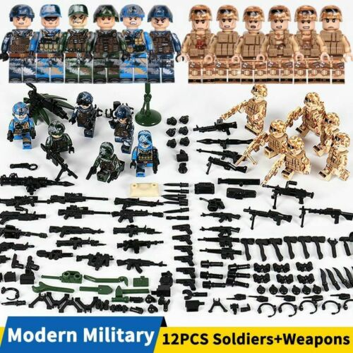 City Policeman Weapons Building Block SWAT Police Soldier Army Militar Toy Kids,