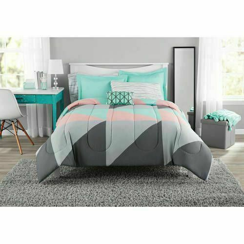 Full Size Gray and Teal Comforter Set Bedding Shams Sheets