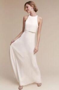 209456880da NWT  298 BHLDN Jill Stuart Iva Crepe Maxi Dress Size 10 Ivory