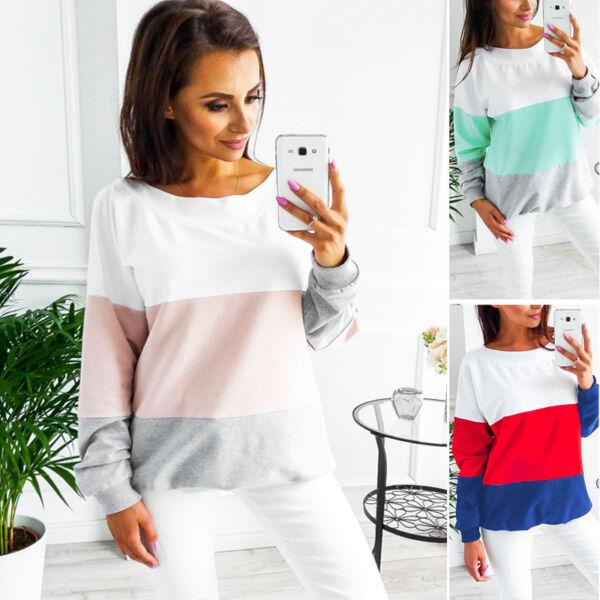 3-colorati Manica Lunga Top Pullover Maglione Maglioncino Felpa Schiena Scollo A V K0 Materiali Superiori