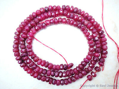 """85 Precious Ruby Beads approx. RUBY 3.5-4mm Faceted Rondelle 8/"""" Strand 35 Ctw"""