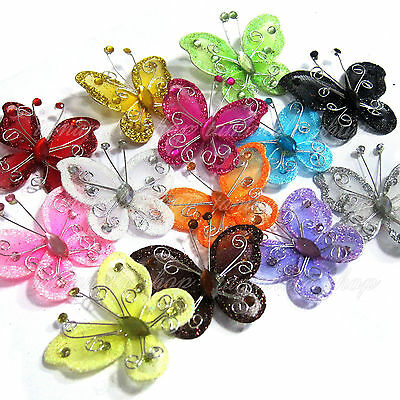 "20 PCS 2"" Organza Butterflies Craft Wedding Party Decoration DIY Choose Colors"