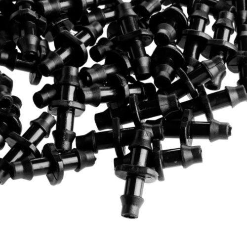 """100 X 1//4/""""Barbed Connector Für 4//7mm Garten Tropfbewässerung Schlauch Schwarz"""
