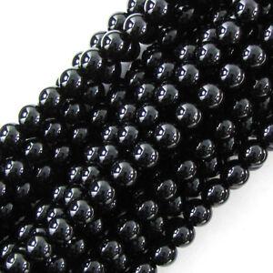 "Black Onyx Round Beads Gemstone 15"" Strand 2mm 3mm 4mm 6mm 8mm 10mm 12mm 14mm"