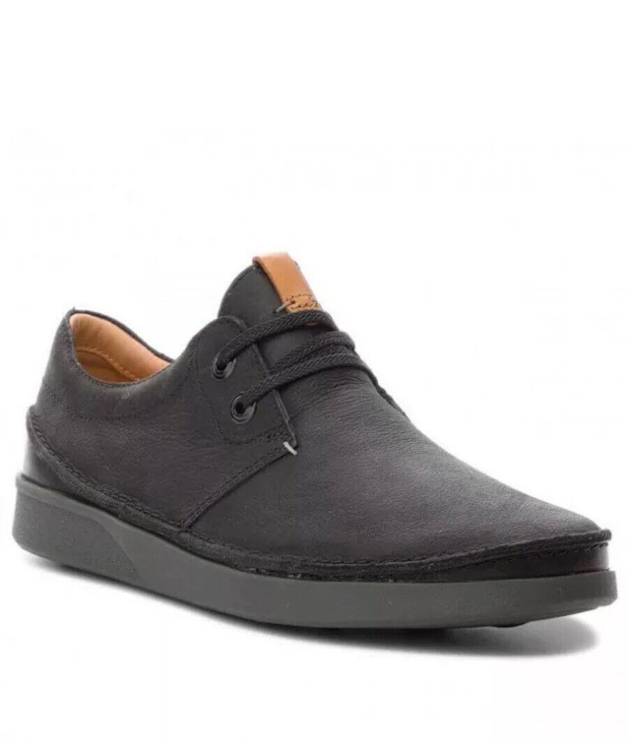 Clarks Men's Active Air Shoes OAKLAND LACE Black Leather UK Size 7 G EU 41