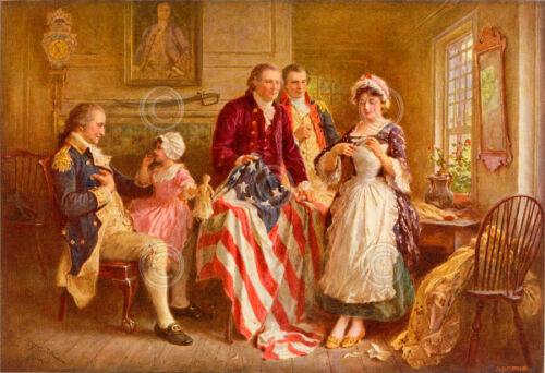 Betsy Ross 1777 by Ferris America Patriotic Flag Print Poster 12x18