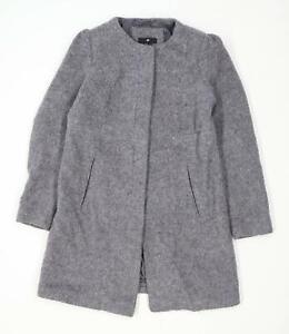 H-amp-M-Womens-Size-12-Wool-Blend-Grey-Overcoat