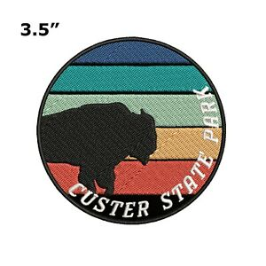 Buffalo Cougar Moon Stars Embroidered Patch Iron Sew-On Motif Gear Applique