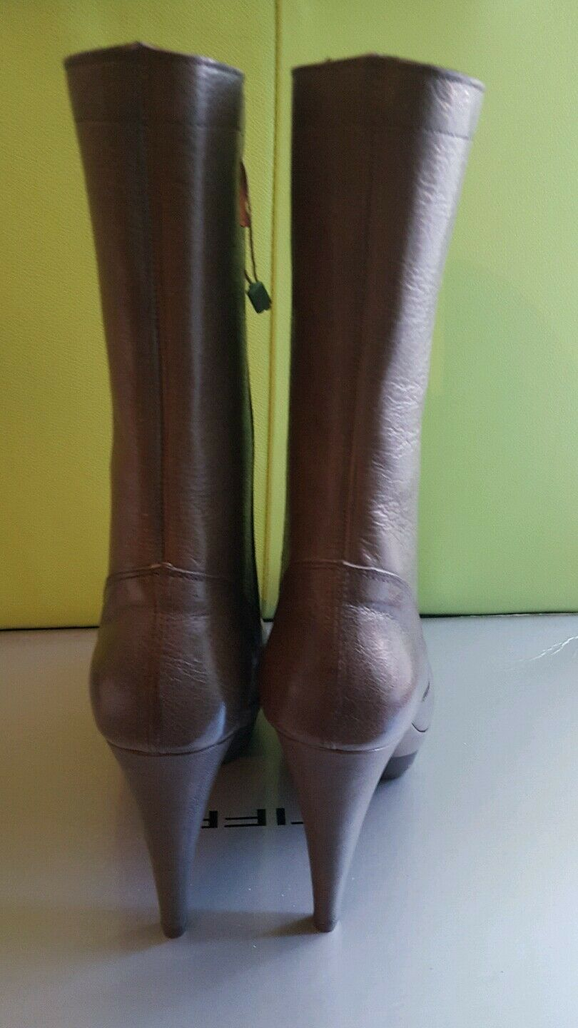 TIFFI Vari Scarpa low Pelle high heels stilletto low Scarpa mid-calf Braun Stiefel UK 7 EU 40 a5ac18