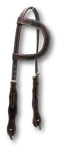 D-A-Brand-Medium-Oil-One-Ear-Headstall-w-Black-Braided-Rawhide-Trim-Horse-Tack