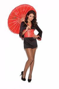 Oriental-Goddess-Costume-Dress-Tapestry-Sash-Geisha-Asian-Red-Black-9091