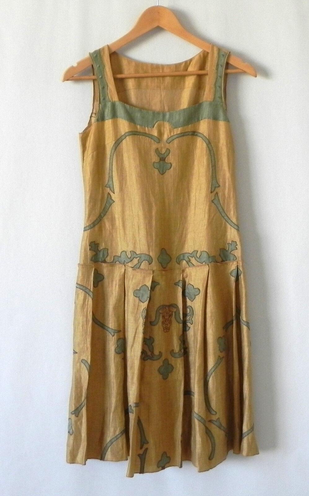 Tefen Frankie Dress Sleeveless Flax Blend Drop Waist Multi-color Size 4