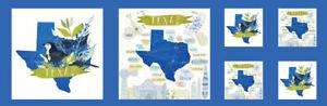 Moda-Quilt-Fabric-Desert-Song-Texas-Panel-13-034-x-44-034-Bluebonnet-Mockingbird-blue