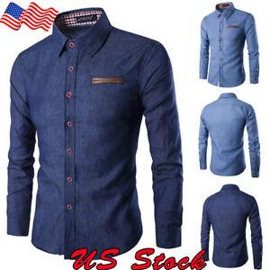 37adb840ae0 Fashion Men s Casual Denim Shirt Slim Fit Jeans Shirts Tops Button ...
