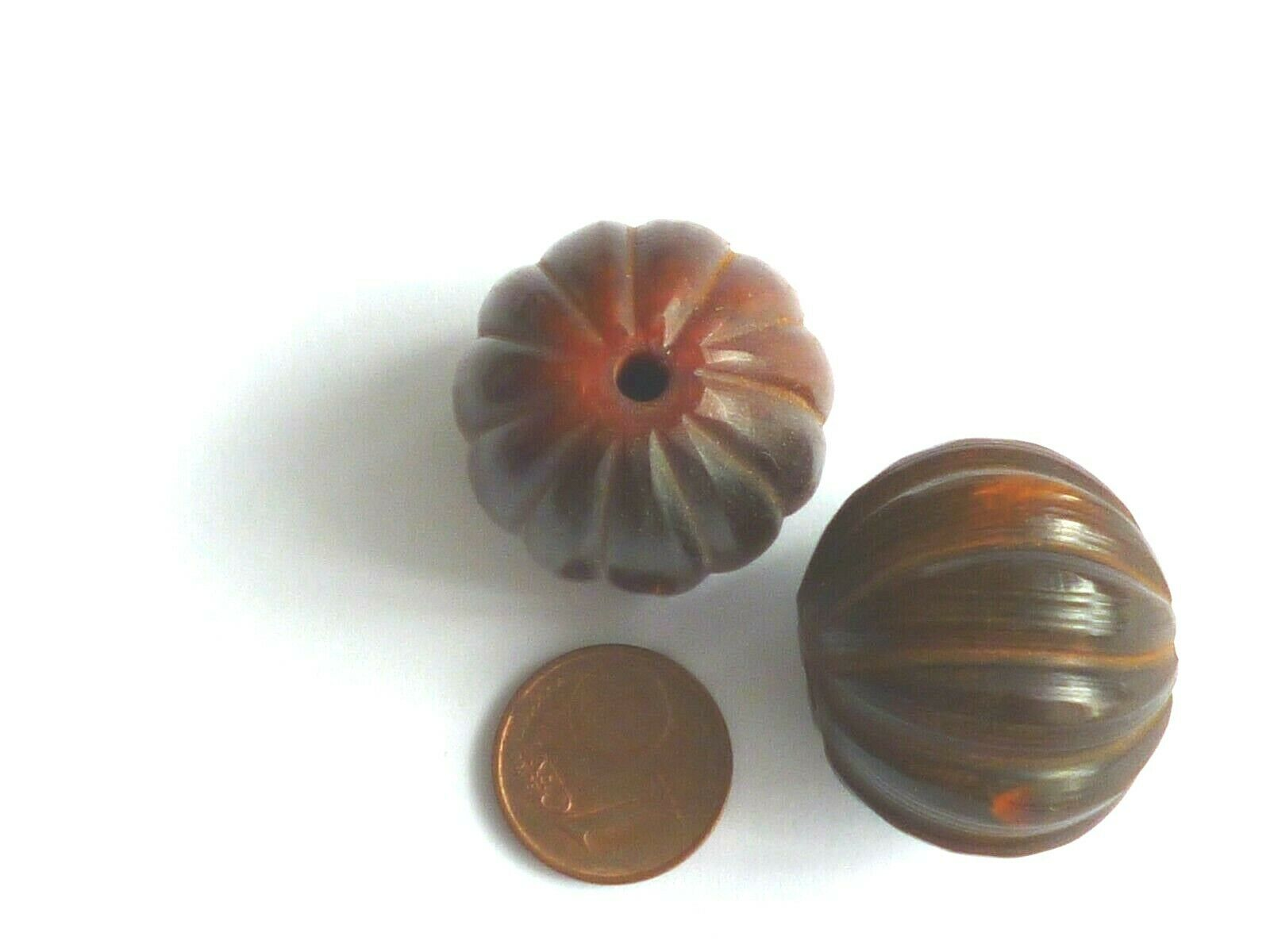 Horn perlen Brauntöne Kugel gerieft zum Basteln für Schmuck 2 Perlen 25 mm
