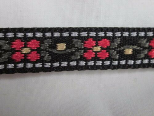 "10 yards 716"" RED OLIVE FLORAL BLACK PRINT EMBROIDERED JACQUARD RIBBON"