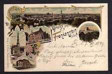 102671 AK Frankenstein Schlesien Litho 1897 Gymnasium Rathaus Postamt Burgruine
