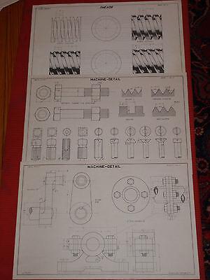 Fein Vintage Original Architektonisch Baupläne Mechanischer Zeichnungen 591ms °c Wrigley's So Effektiv Wie Eine Fee Gebäudebausätze