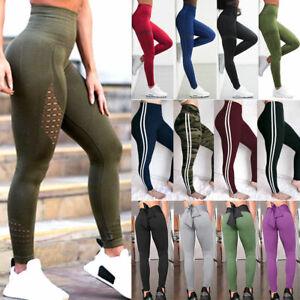 Damen-Yoga-Hose-Leggings-Fitness-Jogging-Trainings-High-Waist-Stretch-Sporthose