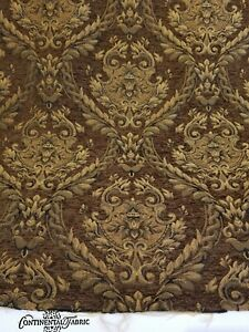 Chenille-Renaissance-damask-Home-Decor-Upholstery-Brown-Sold-By-Yard-58-034